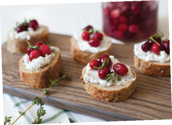 Pickled Cranberries & Goat Cheese Crostini