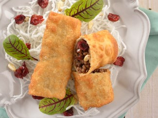 Cranberry Spring Rolls with Chopped Meat Stuffing