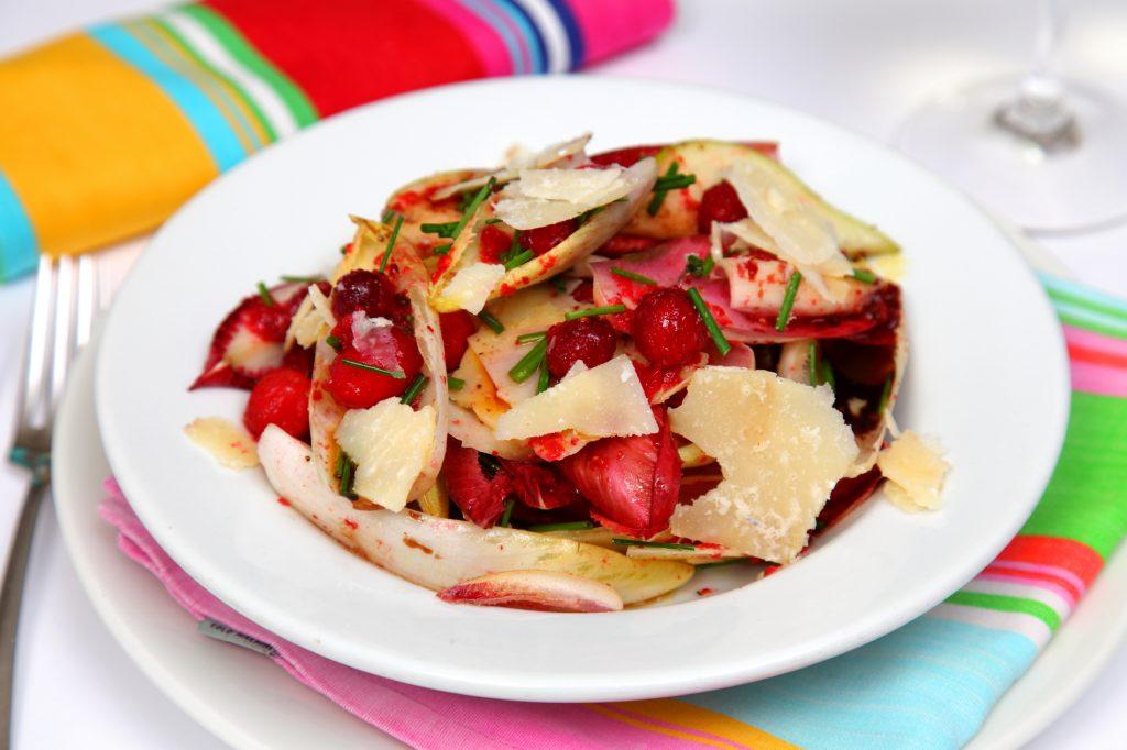 Witlof, Cranberry, Pear, Rocket, and Parmesan Salad