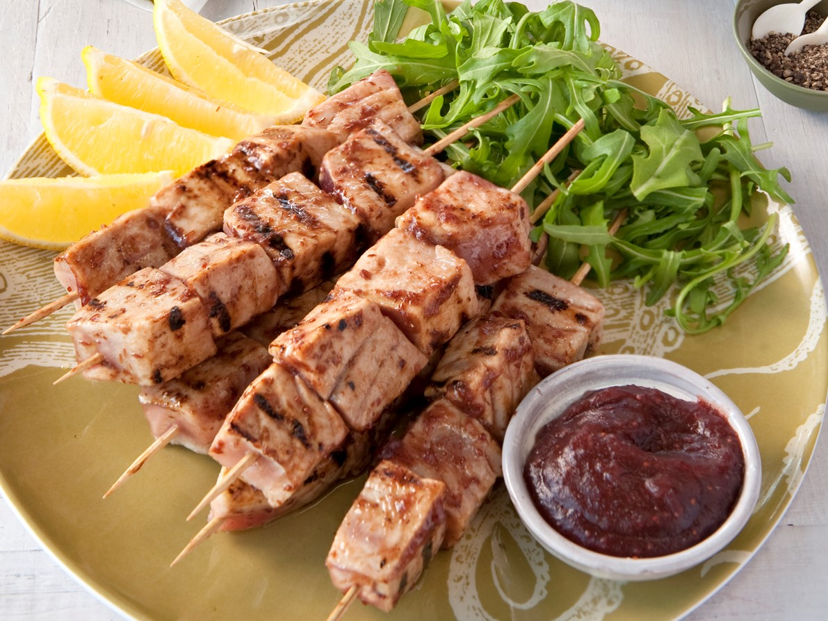 Tuna Kebabs with Cranberry and Lime Glaze