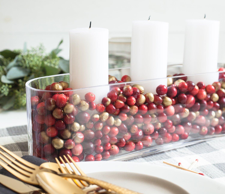 Cranberry-Filled Candle Holder