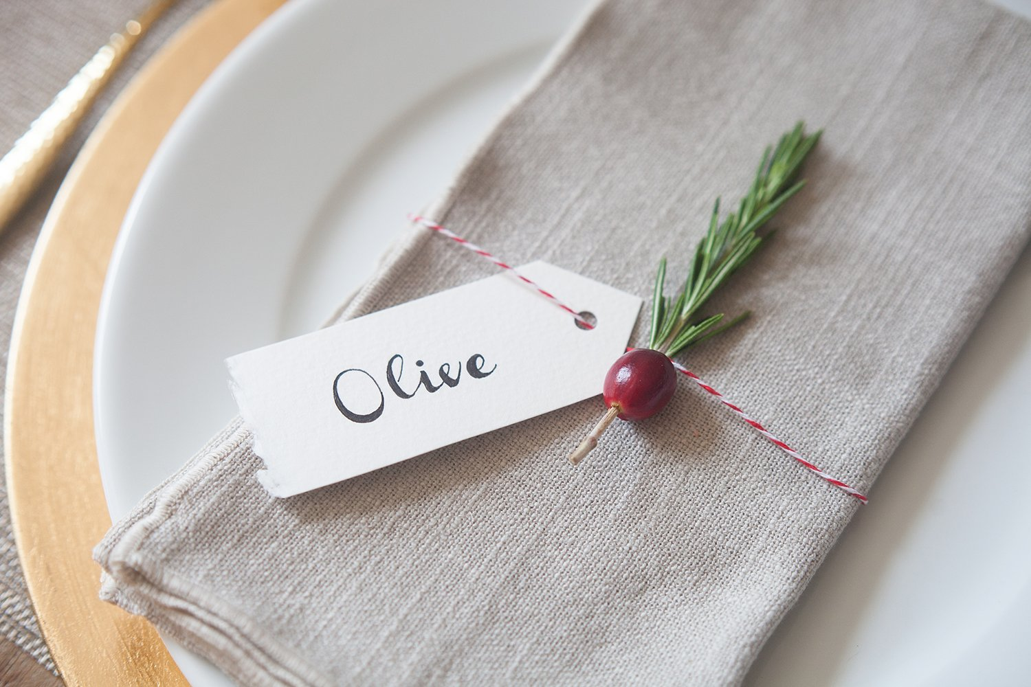 Cranberry & Rosemary Place Cards