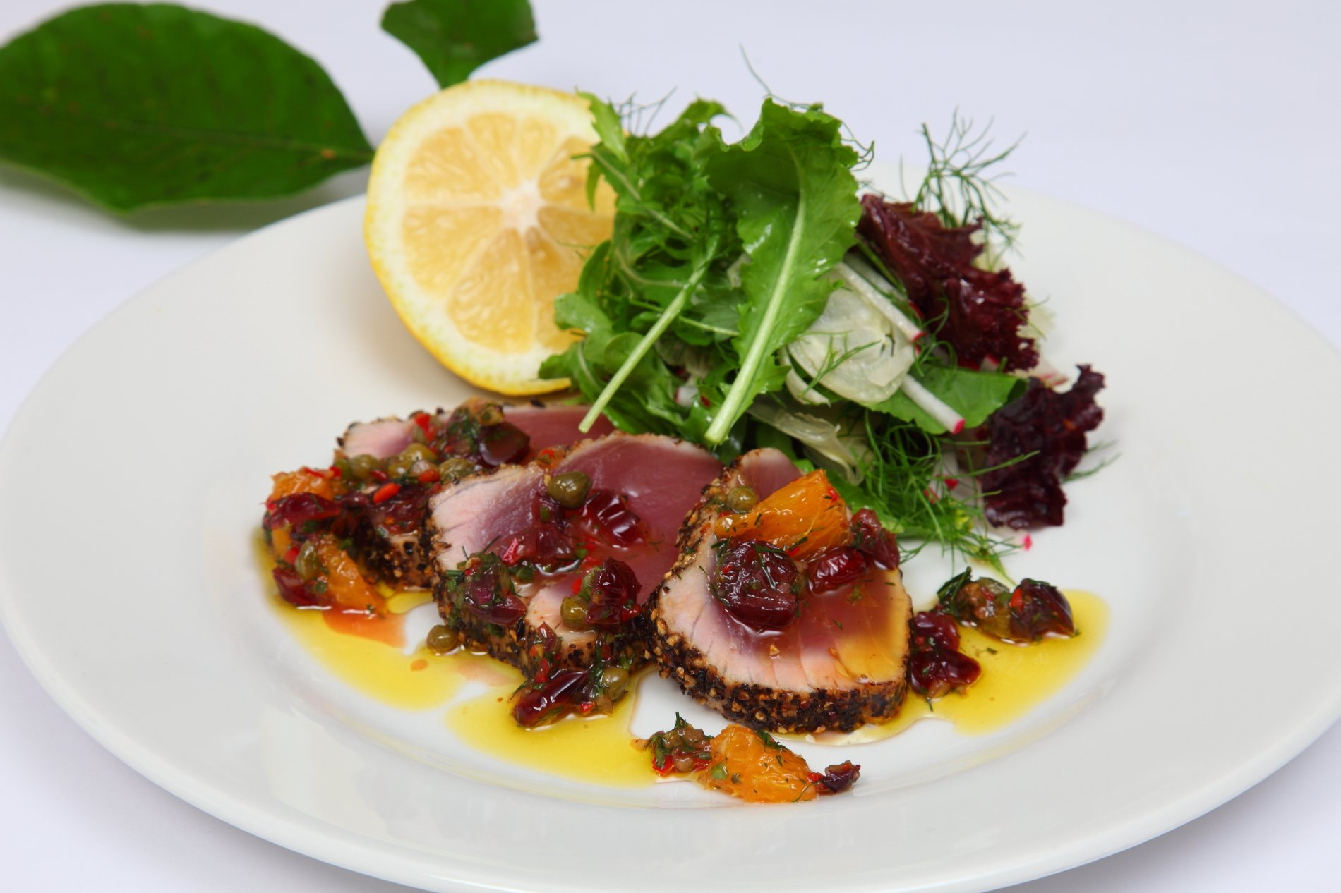 Seared Peppered Yellow Fin Tuna with Dried Cranberries, Orange, Chili & Dill